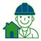 Иконка домик и строитель