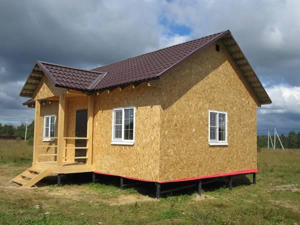 Одноэтажный каркасный дом размером 6 на 8