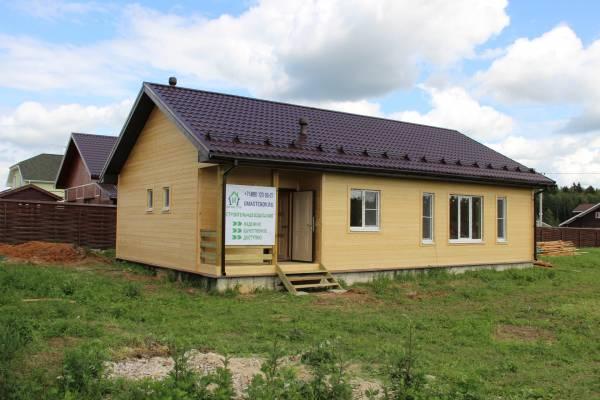 Каркасный дом, внешняя отделка – имитация бруса 145мм.