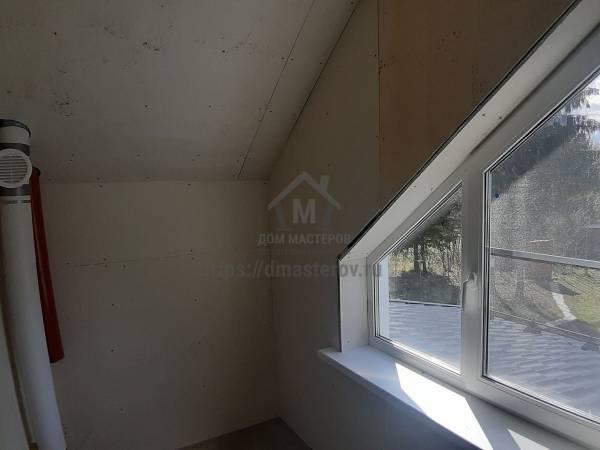 Отделка Стен и потолка санузла на мансардном этаже