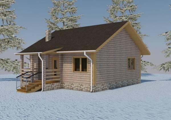 Основной вид на одноэтажный дачный дом по проекту Александров