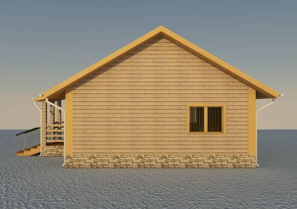Вид на стену одноэтажного дачного дома по проекту Александров