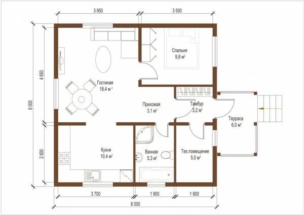 Планировка проекта дома Александров