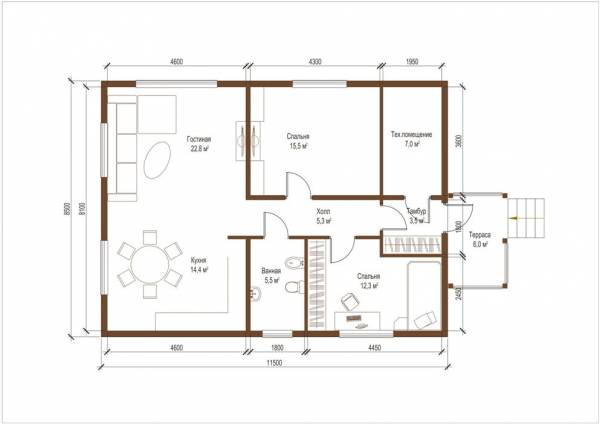 Планировка одноэтажного дома по проекту Бронницы
