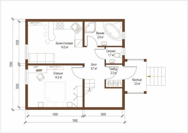 Планировка первого этажа дома по проекту Волоколамск