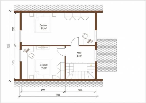 Планировка второго этажа дома по проекту Волоколамск