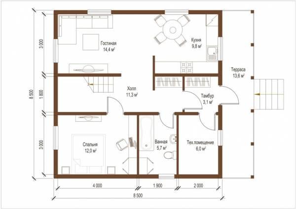 Планировка первого этажа дома по проекту Восресенск