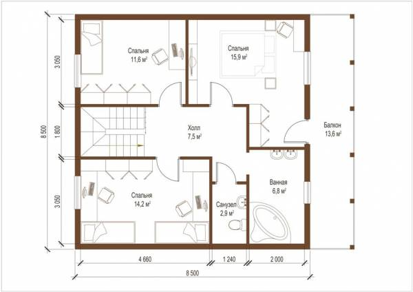 Планировка второго этажа проекта дома Воскресенск