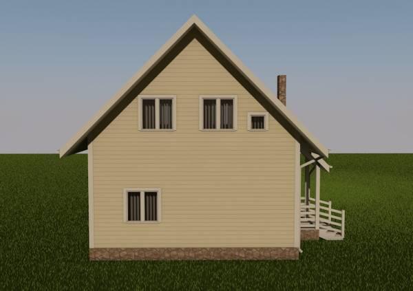 Вид с основного торца дома по проекту Дмитров
