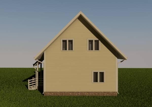 Вид с тыльной стороны дома проекта Дмитров