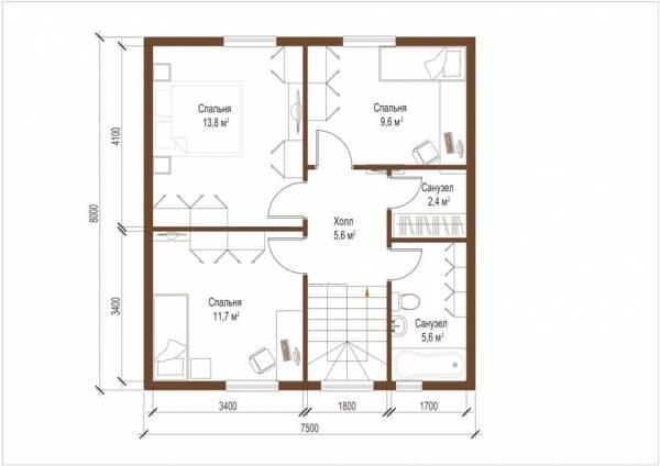 Планировка второго этажа дома по проекту Дмитров