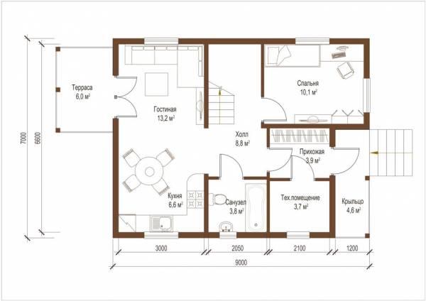 Планировка первого этажа проекта дома Домодедово от СК Дом Мастеров