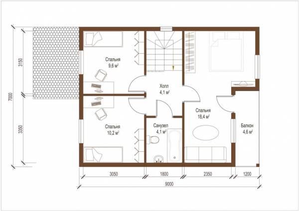 Планировка второго этажа коттеджа Домодедово по проекту СК Домодедово