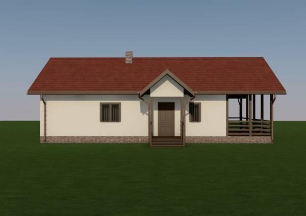 Вид на вход дачного дома по проекту Заворово