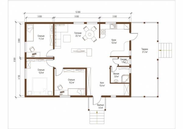 Планировка проекта дома одноэтажный Заворово