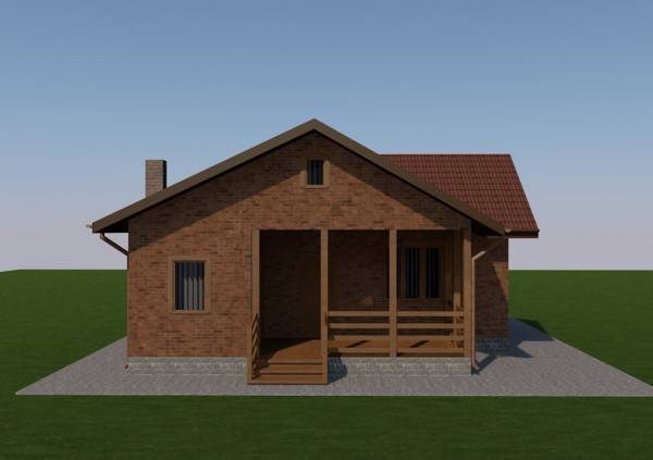 Вид на террасу коттеджа по проекту Истра строим дома.