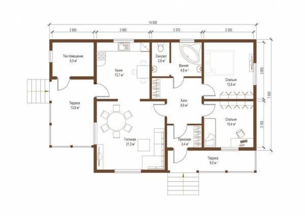 Планировка одноэтажного коттеджа Истра от СК Дом Мастеров