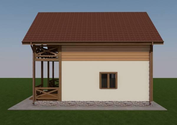 Вид сбоку коттедже Клин по проекту домов от строительной компании