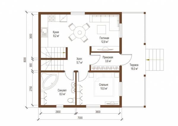 Планировка первого этажа дома по проекту Клин