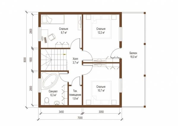 Планировка второго этажа дома по проекту Клин