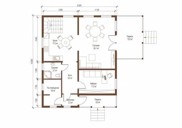 Планировка первого этажа дома по проекту Ногинск смотреть.