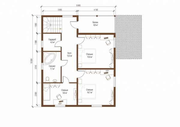 Планировка второго этажа дома по проекту Ногинск посмотреть.