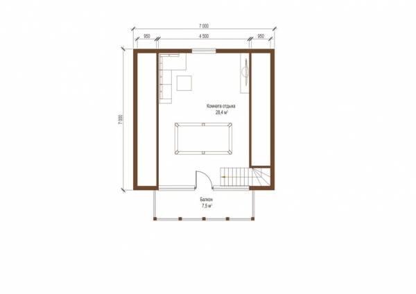 Планировка второго этажа бани проекта Подольск