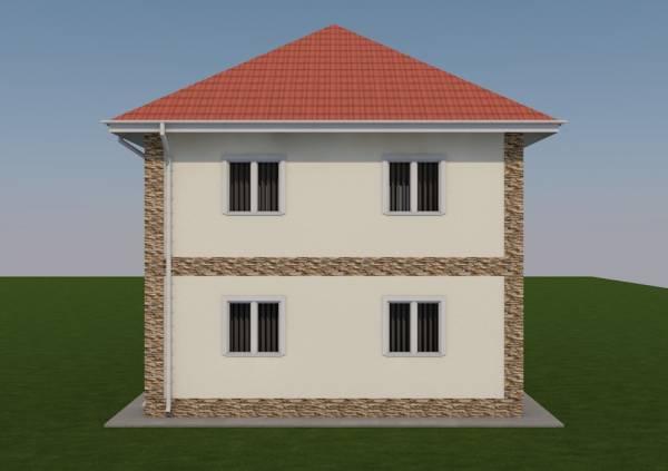 Внешний вид проекта двух этажного коттеджа под названием Раменки