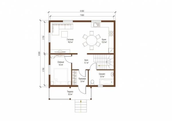 Планировка первого этажа коттеджа Раменки