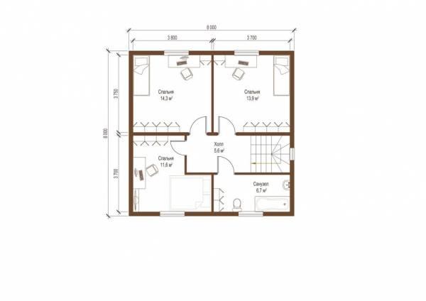 Планировка второго этажа коттеджа Раменки по проекту СК Домодедово