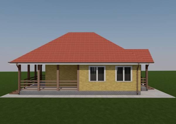 Вид на террасу одноэтажного дачного дома по проекту Серпухов