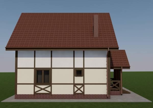 Вид с боку дома по проекту Ступино