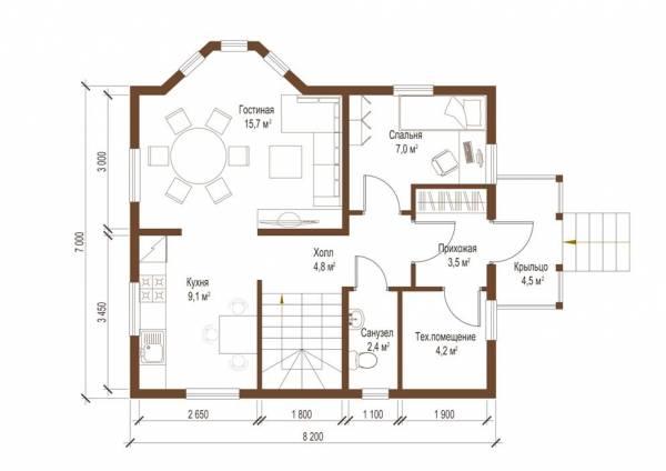 Планировка первого этажа дачного дома Ступино