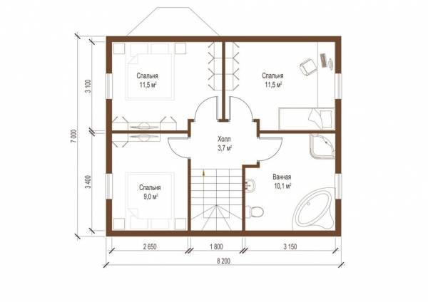 Планировка второго этажа дачного дома Ступино