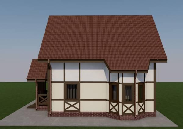 Фасад с эркером дачного дома Ступино
