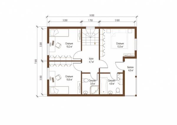 Планировка второго этажа коттеджа проекта Гаврилов