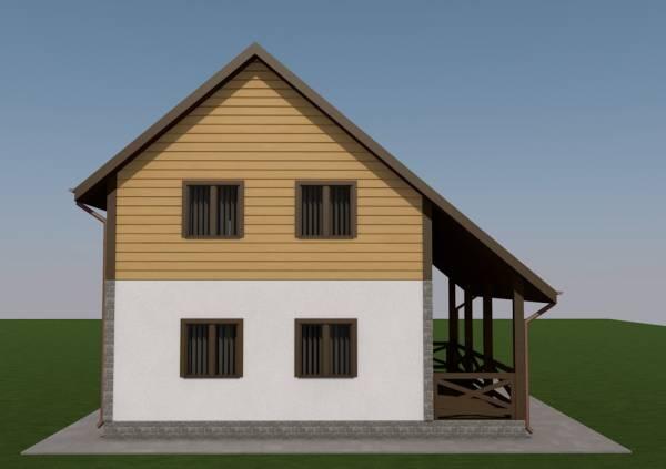 Задний фасад коттеджа по проекту Гаврилов