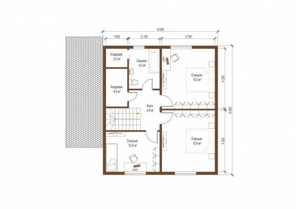 Планировка второго этажа коттеджа проекта Софрина