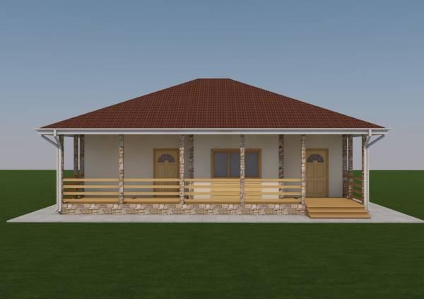 Вид на террасу дачного дома по проекту Спутник