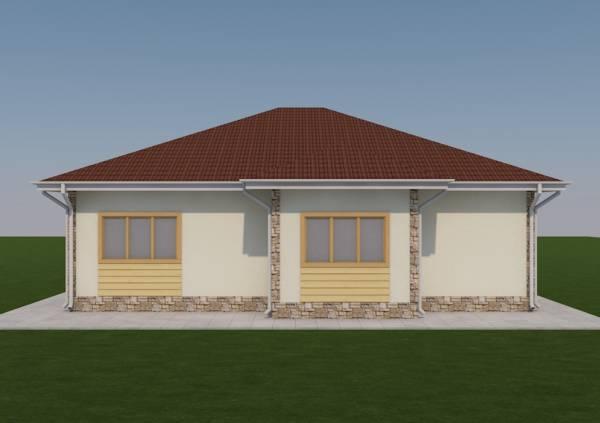 Задний фасад проекта дачного дома Спутник