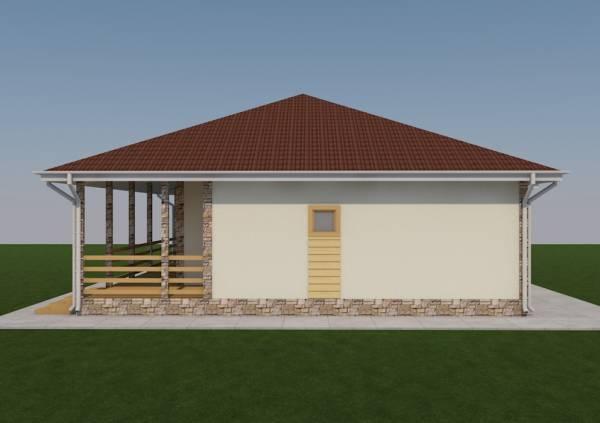 Вид фасада дачного дома по проекту Спутник