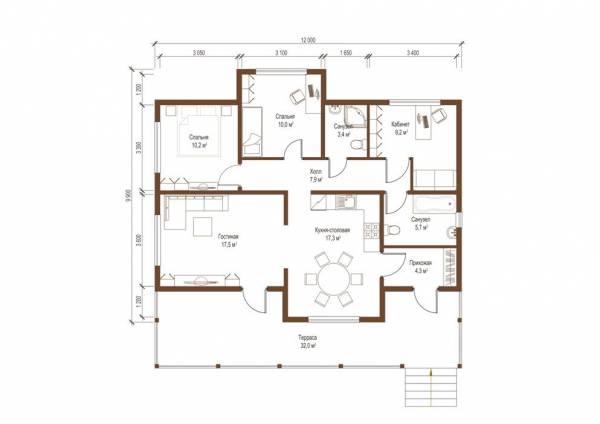 Планировка одноэтажного дачного дома проект Спутник