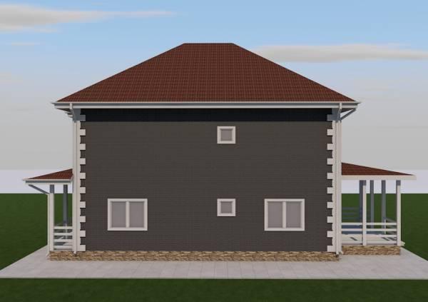 Вариант фасада коттеджа по проекту Абрамцево