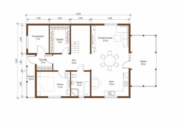 Планировка первого этажа коттеджа по проекту Абрамцево