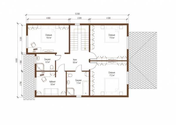 Планировка второго этажа коттеджа по проекту Абрамцево