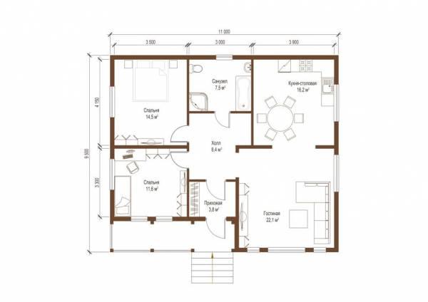 Планировка проекта одноэтажного дачного дома Авдеево