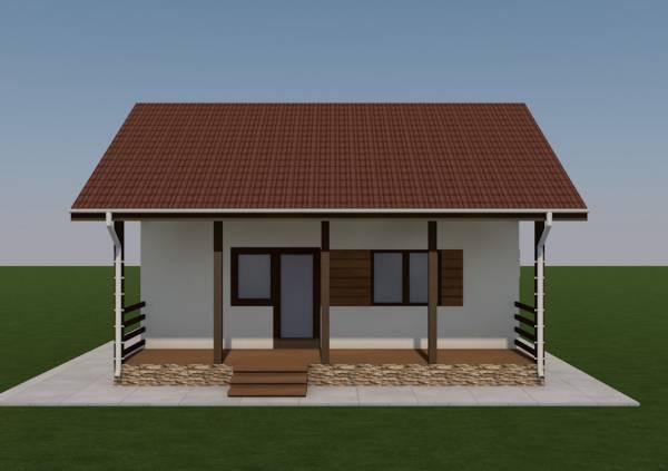 Вид на террасу дачного дома по проекту Алабино