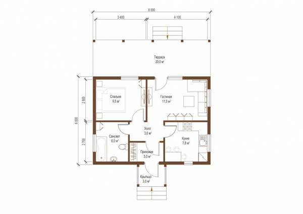 Планировка одноэтажного дачного дома по проекту Алабино