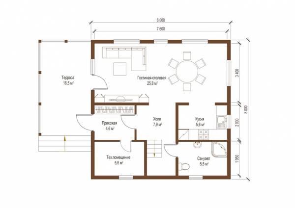 Планировка коттеджа первый этаж проект Барвиха