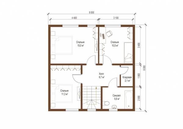 Планировка коттеджа второй этаж проект Барвиха